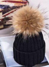 c134e00b26a Women Winter Artificial Racoon Fur Pom Pom Ball Knit Beanie Ski Cap Bobble  Hat