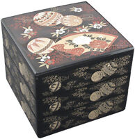 """Japanese Stack Bento Box Lunch Container 3 Tiers 7.5"""" Black Floral Made in Japan"""