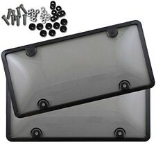 2x Clear Tinted Smoked License Plate Tag Shield Cover and Frame Auto