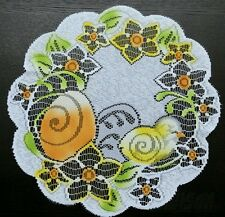 "Easter/spring white round doily/tablemat, 40cm ( 16""), new"