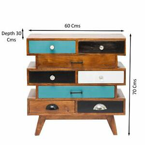Wood Chest of 8 Drawers Antique Vintage Home Office Furniture Decor