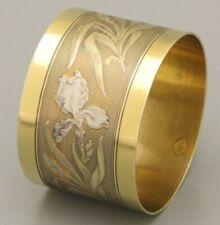 ART NOUVEAU Antique French Gilt Sterling Silver Napkin Ring Holder by Boulenger