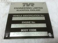 TVR Chassis Tag - TVR Vin Tag - TVR Gift - TVR VIN Plate - TVR Wall Art - #TVRES