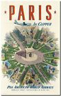 """Vintage travel Poster *FRAMED* CANVAS PRINT ~ Paris by Clipper 18x12"""""""