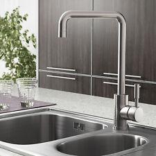 Modern Kitchen Sink Mixer Taps Single Lever Swivel Spout Silver Mono Tap Faucet