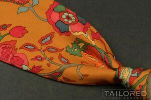 """HERMES SCARF PRINT Orange Floral 100% Silk Mens Luxury Tie - 3.625"""""""