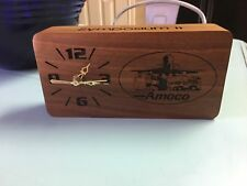 AMOCO SOLID wood.. gas and oil co. Employee Desk Clock