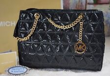 MICHAEL KORS SUZANNAH LARGE Quilted Python Embossed Leather Tote Bag BLACK $498