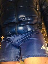 Fabulous Adidas Retro Vintage Shiny Nylon Satin Shorts 36 Waist Lined Mid Blue