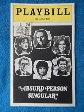Absurd Person Singular - Music Box Theatre Playbill w/Ticket - October 3rd, 1974