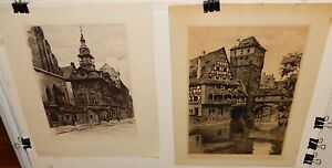 VINTAGE PAIR OF R.BACH HAND SIGNED GERMANY STREET SCENE ORIGINAL ETCHING