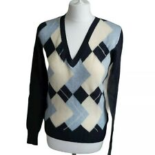 Tommy Hilfiger Women's  Lambswool V Neck Jumper Argyle Diamond Pattern Blue S