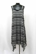 PURE BY DKNY DRESS MAXI PRINTED TRAPEZE STRIPE BLACK WHITE SIZE L NWT $295 MyAFC