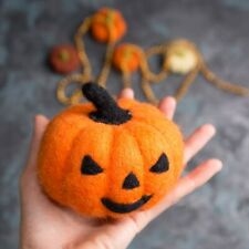 Orange Pumpkin Halloween Handmade Ornament  Needle Felted Home Decor
