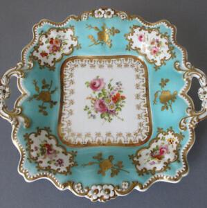 "Antique 1800s English Porcelain HP 10"" Handled Dessert Plate FLOWERS GILT Paste"