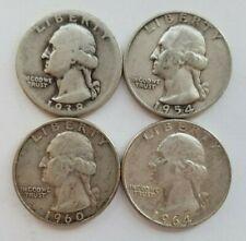 Lot of 4 Washington Silver Quarter Various Dates 1938 1954 1960 1964