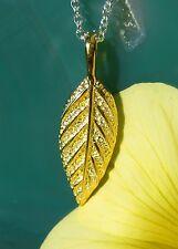 Dorado Hoja Plata Esterlina 925 Bañado en oro collar de cadena