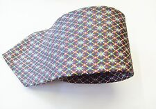 Items Blue With A Multi Coloured Diamond Design Silk Mens Tie