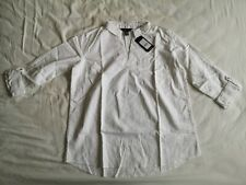 New Look Women's White Linen Blend Shirt Top Size 12 New With Tags