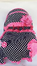 baby car seat cover canopy cover Blanket Set fit most infant seat W/B dots pink