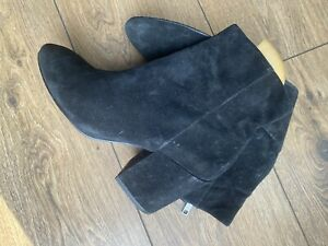 Vgc Ash Black Suede Leather Chelsea Ankle Boots 4 37