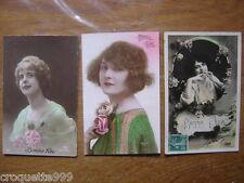 3 CP cartes postales Postcards BONNE FETE pin up annees 1900 1920 debut XX e