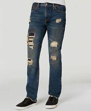 $120 Levi's 511 Mens Size 42W 32L Blue Jeans Slim Fit Rip And Repair Denim Pants