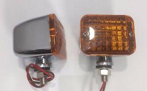 Pair Medium Amber Turn Signal Indicator Lights Chrome Metal Bullet - Car Hot Rod