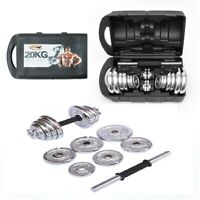 20 kg Dumbbell Set Weights Chrome Cast Iron with Box Home Fitness Gym Body Sets