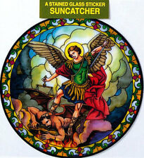 SAINT MICHAEL STAINED GLASS SUN CATCHER STICKER STATUES CANDLES PICTURES LISTED