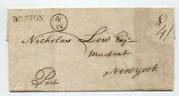 1789 Boston MA straightline handstamp stampless 8dwt rate w NY currency [45.126]
