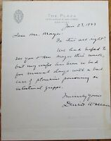 DEWITT WALLACE 1943 Autograph Letter Signed ALS- Plaza Hotel Letterhead, NYC, NY