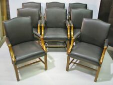 8 High-End Taylor Co. Chippendale Armchairs; Brown Leather Upholstery/ Nailheads