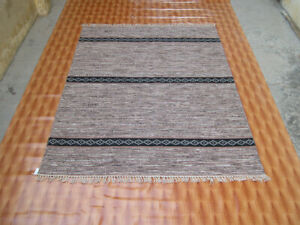 Hand Woven Brown Wool Rug Turkish Kilim Dhurrie Afghan Oriental Area Rug 5x7 ft