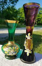 Murano Venetian Art Glass Hand Painted Vases