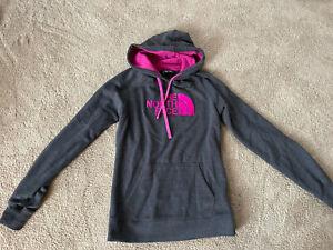The North Face Women's Hoodie Sweatshirt Size M Medium Pullover Gray Pink