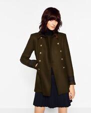 NWOT Rare Zara Khaki Green military Wool coat Size M Bloggers double breasted
