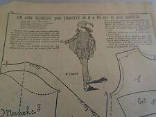 """PATRON ORIGINAL POUR LA POUPEE LISETTE  """"COSTUME DE  PAGE  1925"""