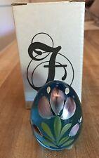 Fenton Celeste Blue Glass Tulip Flower Easter Egg Mib