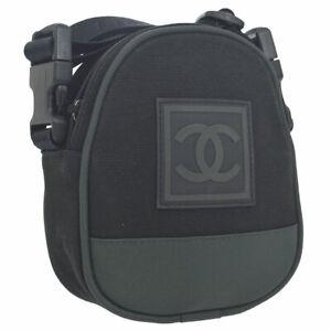 CHANEL Sports Line CC Cross Body Shoulder Bag Black Canvas Nylon AK38167j