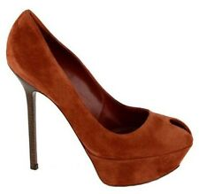 $730 SERGIO ROSSI SHOES CACHET PEEP TOE PLATFORM PUMPS BRICK SUEDE 38 8