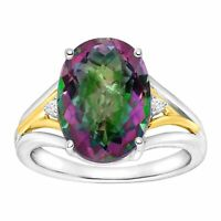 Natural Green Mystic Topaz Ring with Diamonds in Sterling Silver & 14K Gold