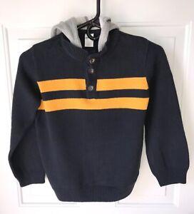 EUC Boys Gymboree Navy Blue Yellow Gray Stripe Hoodie Pullover Sweater Sz M, 7-8