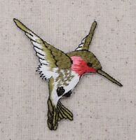 Hummingbird - LARGE/RIGHT - Ruby Red Throat - Iron on Applique/Embroidered Patch
