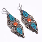 Turquoise Coral Gemstone Earrings, Tibetan Silver Antique Women Jewelry TE316