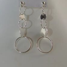 Sterling Silver Earrings With Cascading Circles