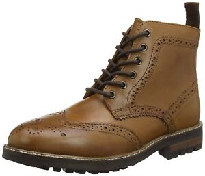 Red Tape Tan Brown Brogue Lace Up Mens Burnished Cleated Boots Size 8 9 10 11 12
