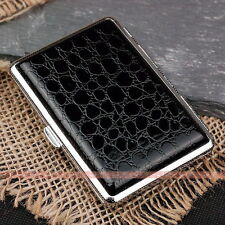 Black Leather Cigarette Case Box Hold For 14 Cigarettes 307B8