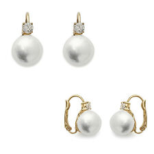 Boucles d'oreilles Plaqué Or 18 carats, Perle et Oxyde de Zirconium