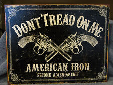 Tin Sign-Don't Tread On Me- 2nd Amendment- Pistols
